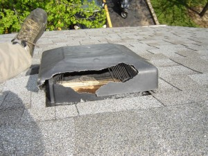 Destroyed Roof Vent